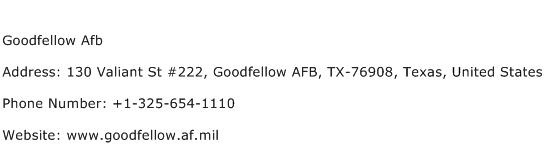 Goodfellow Afb Address Contact Number