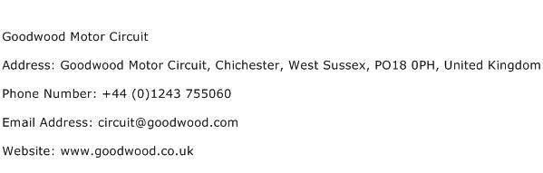 Goodwood Motor Circuit Address Contact Number