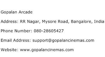 Gopalan Arcade Address Contact Number