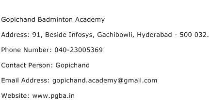 Gopichand Badminton Academy Address Contact Number