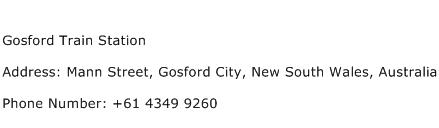 Gosford Train Station Address Contact Number