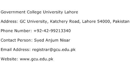 Government College University Lahore Address Contact Number