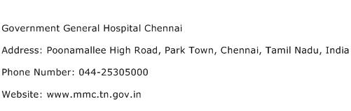 Government General Hospital Chennai Address Contact Number