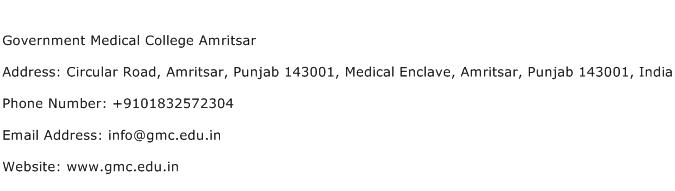 Government Medical College Amritsar Address Contact Number