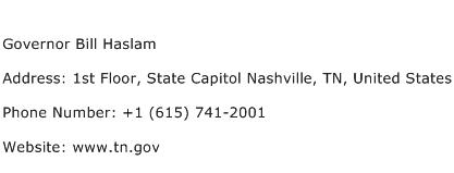 Governor Bill Haslam Address Contact Number