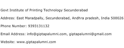 Govt Institute of Printing Technology Secunderabad Address Contact Number