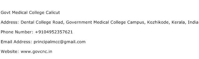 Govt Medical College Calicut Address Contact Number