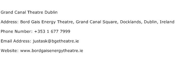 Grand Canal Theatre Dublin Address Contact Number
