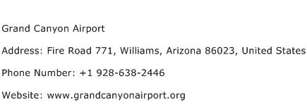Grand Canyon Airport Address Contact Number