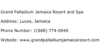Grand Palladium Jamaica Resort and Spa Address Contact Number