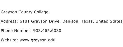 Grayson County College Address Contact Number