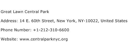Great Lawn Central Park Address Contact Number