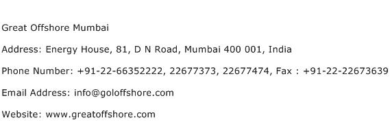 Great Offshore Mumbai Address Contact Number