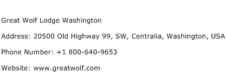 Great Wolf Lodge Washington Address Contact Number
