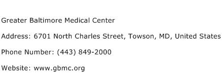 Greater Baltimore Medical Center Address Contact Number