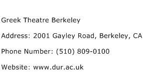 Greek Theatre Berkeley Address Contact Number