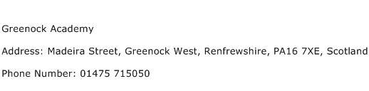 Greenock Academy Address Contact Number