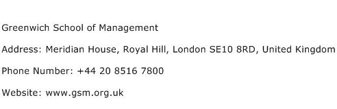 Greenwich School of Management Address Contact Number