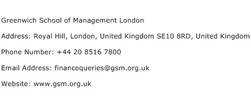 Greenwich School of Management London Address Contact Number