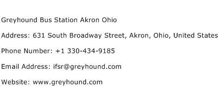 Greyhound Bus Station Akron Ohio Address Contact Number