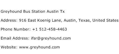 Greyhound Bus Station Austin Tx Address Contact Number