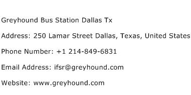 Greyhound Bus Station Dallas Tx Address Contact Number