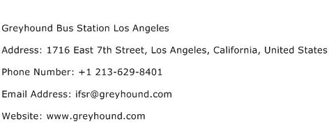 Greyhound Bus Station Los Angeles Address Contact Number