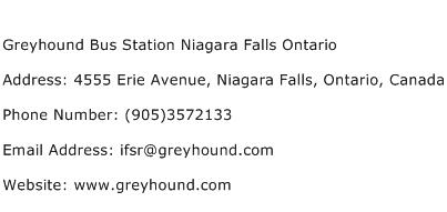 Greyhound Bus Station Niagara Falls Ontario Address Contact Number