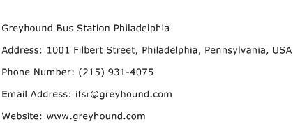 Greyhound Bus Station Philadelphia Address Contact Number
