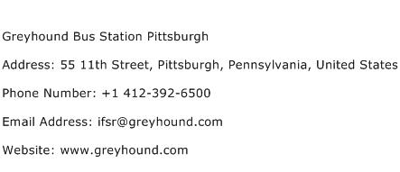 Greyhound Bus Station Pittsburgh Address Contact Number
