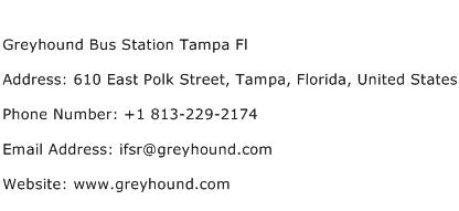 Greyhound Bus Station Tampa Fl Address Contact Number
