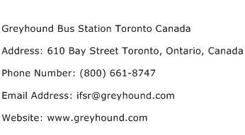 Greyhound Bus Station Toronto Canada Address Contact Number