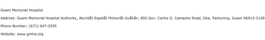 Guam Memorial Hospital Address Contact Number