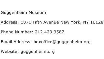 Guggenheim Museum Address Contact Number