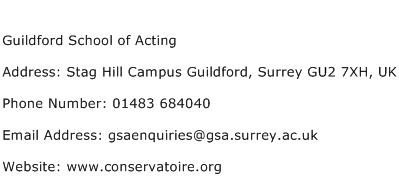 Guildford School of Acting Address Contact Number