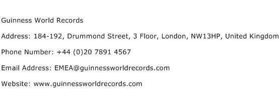 Guinness World Records Address Contact Number