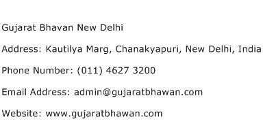 Gujarat Bhavan New Delhi Address Contact Number