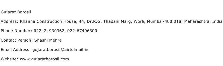 Gujarat Borosil Address Contact Number