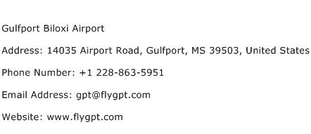 Gulfport Biloxi Airport Address Contact Number