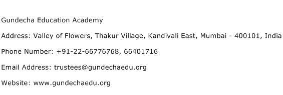 Gundecha Education Academy Address Contact Number