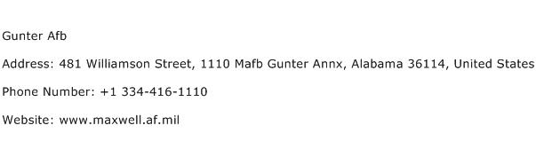 Gunter Afb Address Contact Number