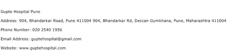 Gupte Hospital Pune Address Contact Number