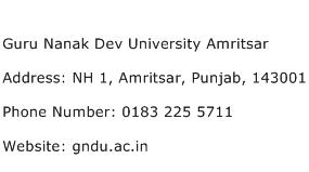 Guru Nanak Dev University Amritsar Address Contact Number