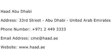 Haad Abu Dhabi Address Contact Number