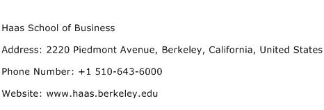 Haas School of Business Address Contact Number