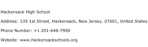 Hackensack High School Address Contact Number