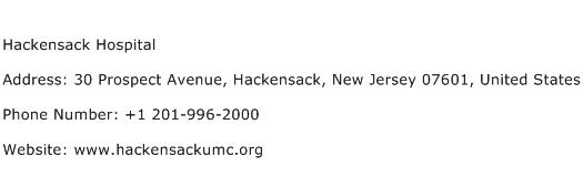 Hackensack Hospital Address Contact Number