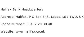 Halifax Bank Headquarters Address Contact Number