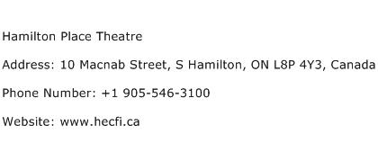 Hamilton Place Theatre Address Contact Number