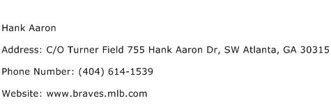 Hank Aaron Address Contact Number